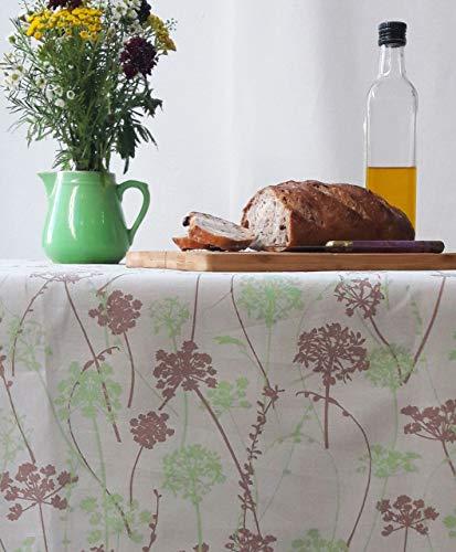 Fleur de Soleil N160ROEHEFTV Nappe ronde anti-tache imperméable Tissu/Ourlée Herbe/Taupe/Vert 160 x 160 x 0,2 cm