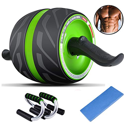 AB Roller Perfect Fitness Roller Workout Machine met grote Knee Mat with1 paar push-ups voor Core Workouts,Green