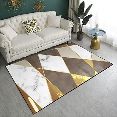 alfombras Infantiles Lavables Alfombra de Cocina Alfombra geométrica rectángulo Blanco Dorado decoración de Dormitorio Moderno dormitorios Juveniles 140X200CM