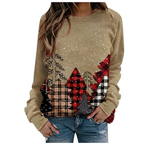 SEWORLD Women Plus Size Casual Christmas Printing Raglan Shirts Blouse Tops Pullover Outwear Coat Khaki