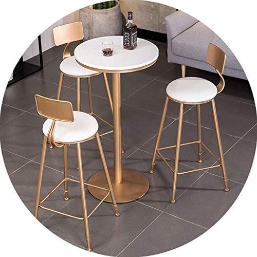Collezione Daily Equipment Modern High Barstool |Sgabello da bar moderno Cuscino morbido Set di 4 sedie da bancone per la colazione |con gambe in metallo dorato lucido seduta da 45 cm + tavolo da
