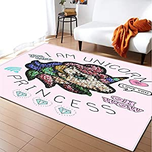 17 Styles Unicorn 3D Printed Child Carpets for Living Room Bedroom Decor Carpet Kids Room Play Soft Rug Baby Crawl Antiskid Mats (Color : 4, Size : 152x244cm)
