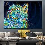 Pintura sin Marco Pintura Colorida de la Lona del Animal del Gato Cartel Moderno del Arte de la Pared e impresión de la Pintura de la Pared Decoración ZGQ6246 40X60cm