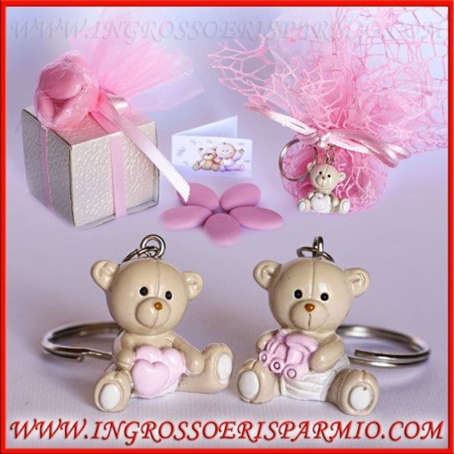 Pendant Keyring of Resin Bright in the form of Bear Decorated with Trencito or Pink Hearts between legs + confitera, Ideal for Souvenir of Birth, baptism, birthday girl kit 48 pz. No packaging