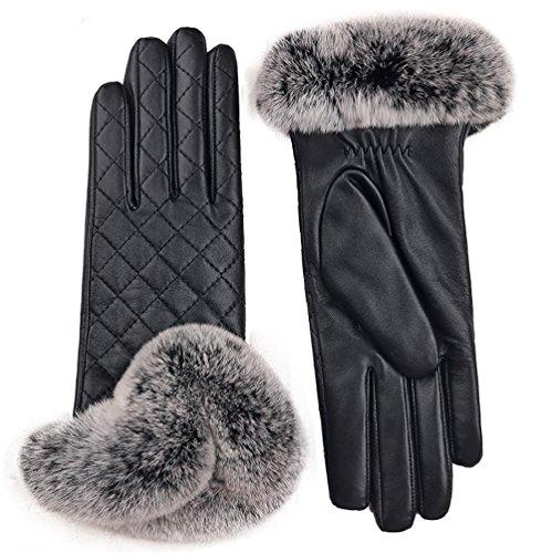 SALY Frauen Kaninchen Pelz Cuff Kaschmir Gefüttert Lammfell Leder Handschuhe, 2.5 * 2.5m