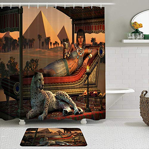 LnimioHOX Shower Curtain Sets with Non-Slip Rugs,Egypt Leopard Ancient Egyptian Sex Lady and a Tame Cheetah, Bath mat + Shower Curtain with 12 Hooks