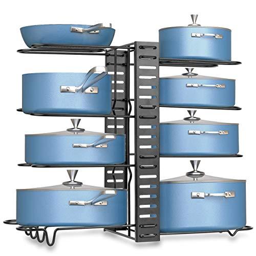 Pot Racks Organizer Pan Rack Organizer Storage Adjustable 8 Tiers Heavy Duty Pan Racks Shelf Cookware Kitchen Organization DIY Pantry Pot Lid Organizers for Cabinet Countertop