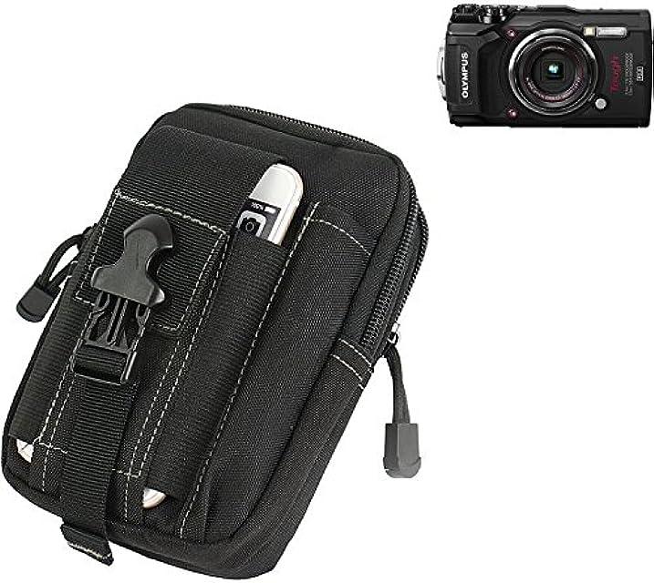 K-S-Trade Bolsa del cinturón/Funda para cámara digitalOlympus Tough TG-5 Negro | compactas compartimientos adicionales con el Espacio para el Banco de la energía Disco Duro etc