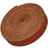 TOFL Genuine Top-Grain Leather Strap | 72 Inches Long | 5/8 Inch Wide | 1/8 Inch Thick (7-8 oz) | 1 Leather Strip for DIY Arts & Craft Projects, Clothing, Jewelry, Wrapping | Golden Tan