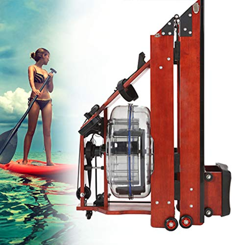 Solide Eiche Fitness Rudergerät, Premium Wasser Rudergerät Mit Klappfunktion Mit 7 Gänge Widerstandseinstellung, Geeignet Für Zu Hause Fitness-Übung