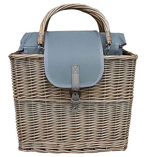 Red Hamper Antique Wash Willow Chiller Basket with Picnic Blanket