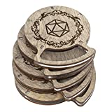 SMONEX Dungeons and Dragons Wood Coasters Set of 5 - Drink Holder Ideal as DND Accessories - Perfect DND Gifts for Dungeon Masters and D&D Fans - Gray Dice Coasters