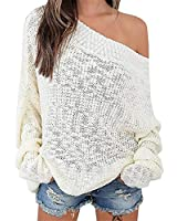 Exlura Women's Off Shoulder Batwing Sleeve Loose Oversized Pullover Sweater Knit Jumper,White,S/M/L(6/8/10)