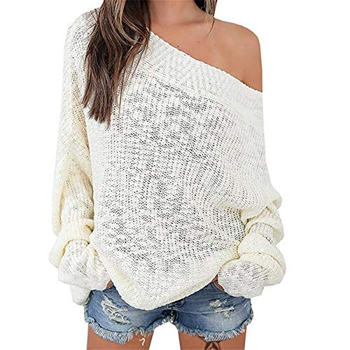 Exlura Women's Off Shoulder Batwing Sleeve Loose Oversized Pullover Sweater Knit Jumper,White,XL/2XL(12/14)