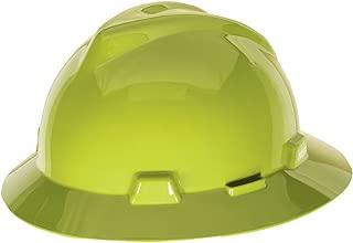 MSA 10061515 V-Gard Slotted Full-Brim Hard Hat, with 4-Point Fas-Trac III Suspension, Standard, Hi-Viz Yellow Green