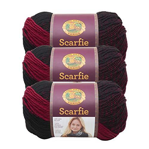 Lion Brand Yarn 826-205 Scarfie Yarn, Arándano/Negro (3 unidades)
