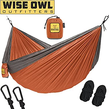 Wise Owl Outfitters Hammock for Camping Single & Double Hammocks - Top Rated Best Quality Gear For The Outdoors Backpacking Survival or Travel - Portable Lightweight Parachute Nylon SO Orange & Grey
