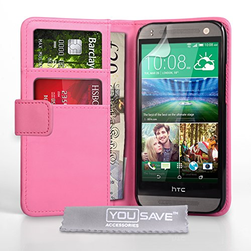 Yousave Accessories - Funda para HTC One Mini 2, Poliuretano Rosa Oscuro