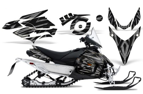 CreatorX Graphics Kit Decals Stickers for Yamaha Phazer Rtx Gt Mtx Snowmobile Sled Tribal Madness Silver