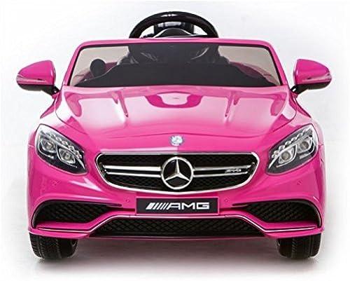 Mercedes-Benz S63 AMG Cabriolet Ride-On 12V Elektro Kinderauto (EVA reifen) ( Leather Sitz) Kinderfahrzeug Kinder Elektroauto (Rosa)
