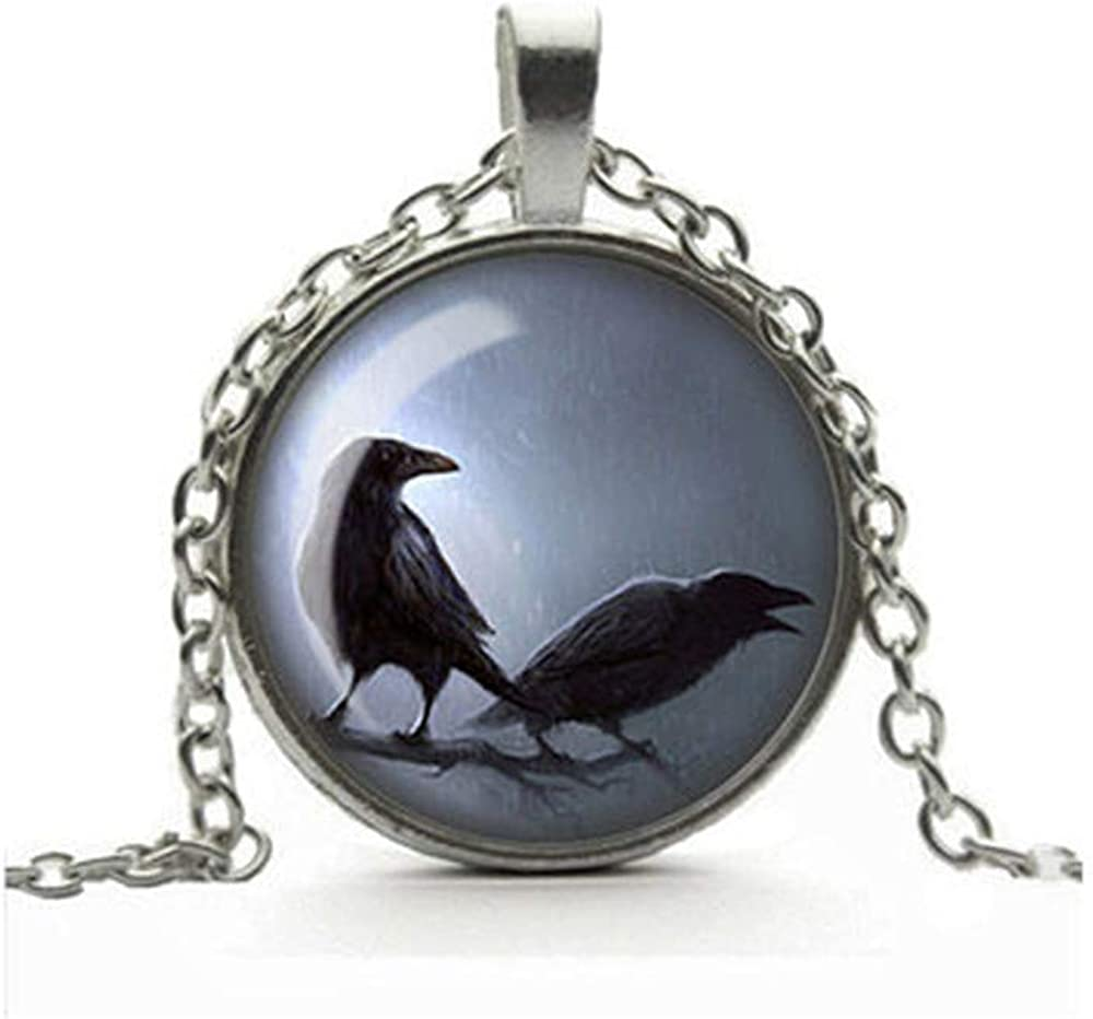 Dandelion Gothic Raven Necklace, Crow Pendant, Glass Cameo Cabochon, Pair of Ravens, Tile Necklace Jewellery, Gothic Gift for Her, Alternative Jewelry