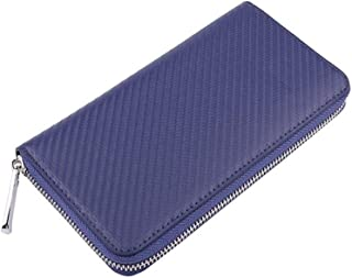 Men's Wallet Carbon Fiber Pattern Card Package Long Passport Package RFID Multi-Card Multi-Function Large Capacity Business Card Package (Color : Blue, Size : S)