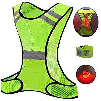 Huanxidp Led Reflective Safety Running Vest, High Visibility Warning Light, Outdoor Sports Mesh Breathable Jogging and Cycling Equipment, with Luminous Armband