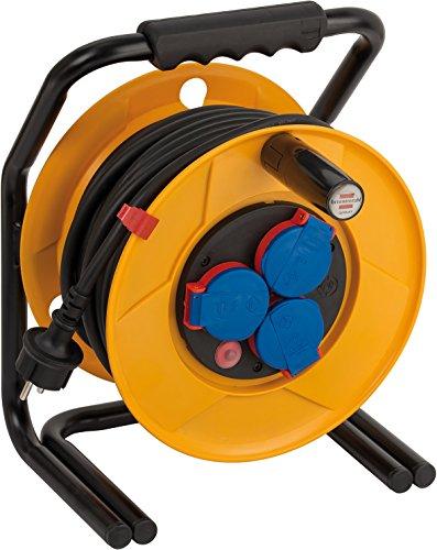 Brennenstuhl Brobusta IP44 Gewerbe-/Baustellen-Kabeltrommel (40m - Spezialkunststoff, Baustelleneinsatz und Einsatz im Außenbereich, Made In Germany) gelb