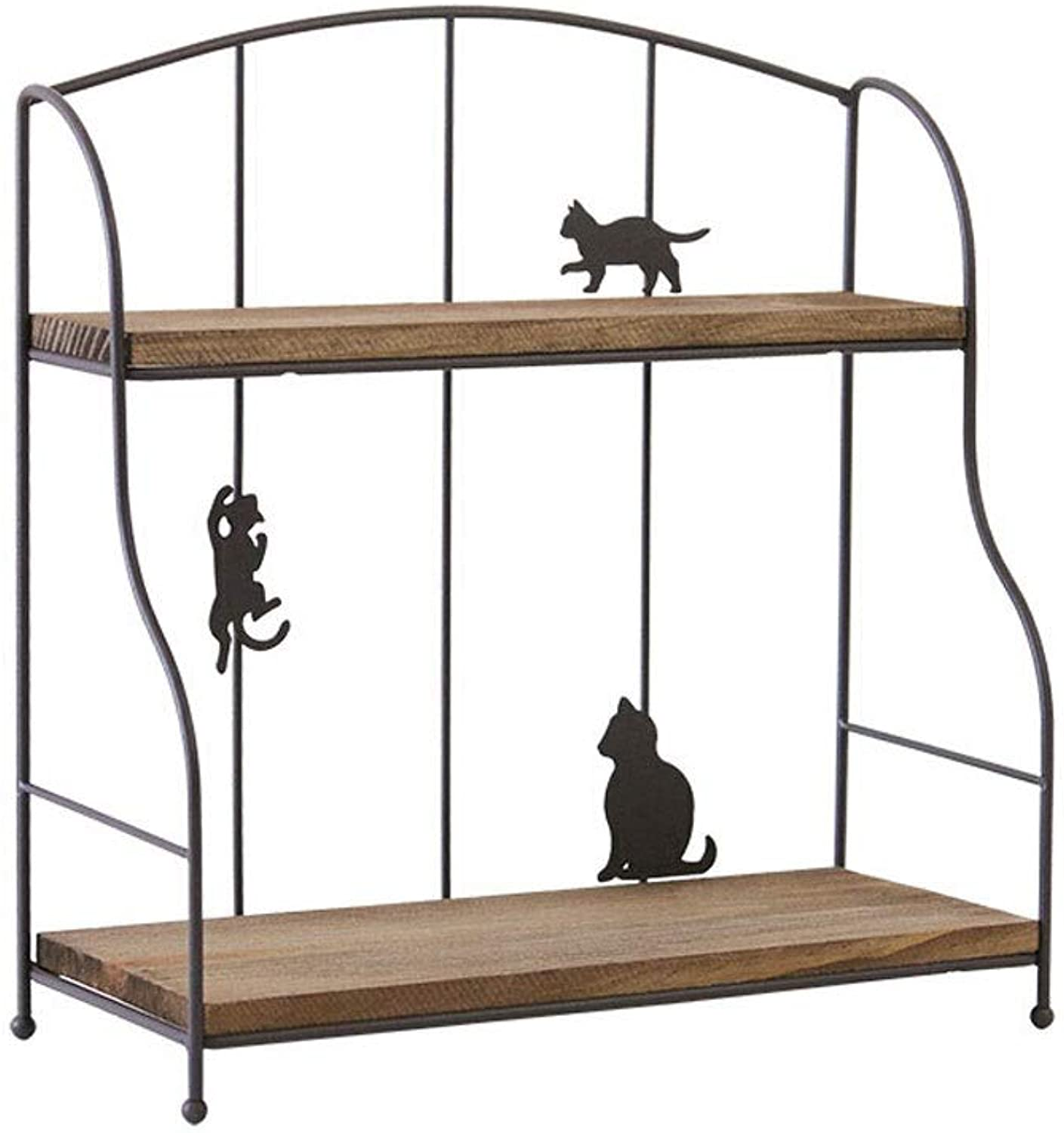 C-K-P Nordic Wrought Iron Storage Rack Desktop Shelf Double Desk (color   Brown)