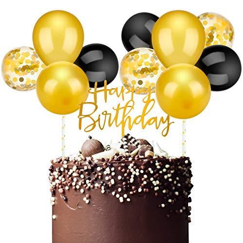 Latex Ballon Wolke Kuchen Topper, Mini Ballon Girlande Kuchen Topper Konfetti Ballon Acryl Happy Birthday Cupcake Topper für Geburtstagstorte Liefert Dekorationen (Gold Farbe Thema)