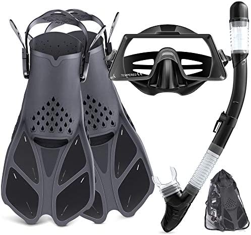 Snorkel Set Adult Snorkeling Set with Panoramic Snorkel Mask Diving Goggles Dry Top Snorkel product image