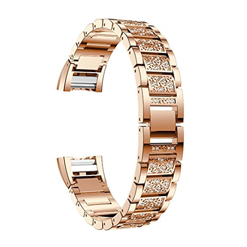 Aottom kompatibel für Armband Fitbit Charge 2 Metal,Armbänder Fitbit Charge 2 Damen Roségold Kristall Metall Ersatzband Smartwatch Charge2 Uhrenarmband für Fitbit Charge 2