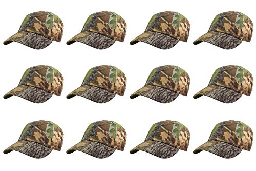 Gelante Baseball Caps 100% Cotton Plain Blank Adjustable Size Wholesale LOT 12 Pack (Hunter Camo)