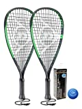 Dunlop Sonic Ti - Raqueta de raqueta (2 unidades, incluye fundas protectoras y 3 pelotas Dunlop Racketball