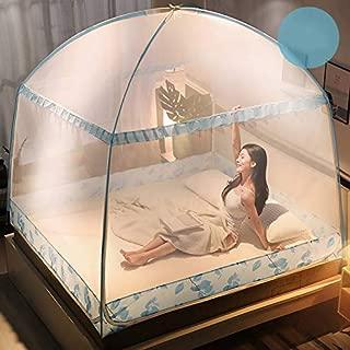蚊帳 折りたたみ式 ワンタッチ 2ドアタイプ 底生地付き 18針 密度が高い 虫よけ 蚊よけ 収納便利 かや シングル ムカデ ベビー 赤ちゃん ダブル キャンプ 3畳 ブルー