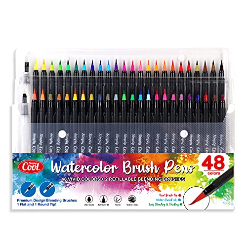 48 Watercolor Brush Pens Premium Set w/ 2 Refillable Blending Brushes, For Freehand Art, Calligraphy, Coloring, Doodling, Drawing, Painting & More | Includes 1 Round Tip & 1 Flat Tip Watercolour Markers Pen Kit