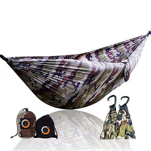 TYJKL Hamaca portátil de Camping Doble Hamaca del Patio Trasero Equipos, Incluyendo Correas de Nylon y Acero Viajes mosquetón