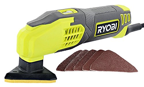 Ryobi DS1200 .4 Amp 13,000 OBM Corded 2-7/8' Detail Sander w/ Triangular Head and 5 Sanding Pads
