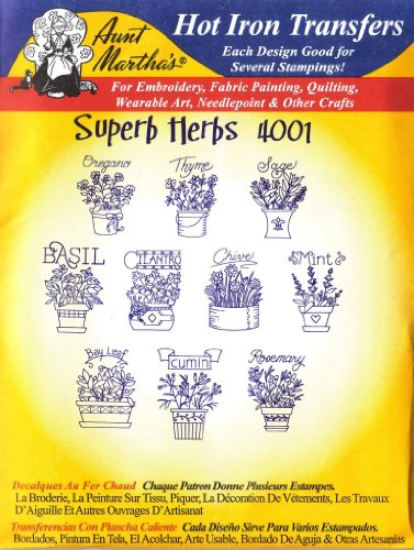 Aunt Martha's Superb Herbs Hot Iron Embroidery Transfer