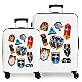 Star Wars Badges Juego de Maletas Blanco 55/70 cms Rígida ABS Cierre TSA Integrado 119,4 6 kgs 4 Ruedas Dobles Equipaje de Mano