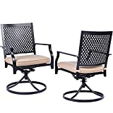 Bigroof Swivel Outdoor Patio Chairs Set of 2 Dining Rocker Chair Metal Frame with Seat Cushion Backyard Furniture Sets for Patio, Lawn & Garden