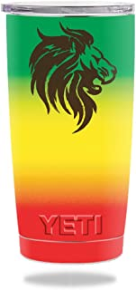 MightySkins Skin Compatible with Yeti 20 oz Tumbler - Rasta Lion   Protective, Durable, and Unique Vinyl Decal wrap Cover   Easy to Apply, Remove, and Change Styles   Made in The USA
