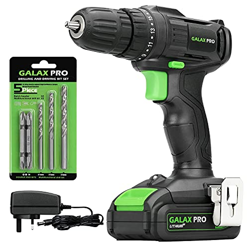 GALAX PRO 20V Cordless Drill,Single Speed (0-600RPM), 19+1 Position,Max Torque(20N.m), 10mm Keyless Chuck,with Work Light, 1.3Ah Battery & Charger Included