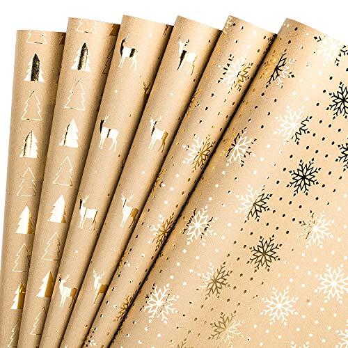 RUSPEPA Hojas De Papel Para Envolver Papel Kraft - Diseño De Árbol De Navidad Y Renos Lámina Dorada - 44,5 X 76...