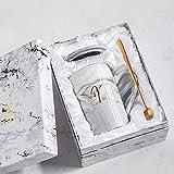 Xiaobing Tazza in ceramica alla moda con tazza con motivo in marmo dorato Tazza da caffè creativa per ufficio -B39-301-400ml