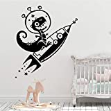Dibujos animados dinosaurio cohete espacio vinilo pared pegatina dulces sueños pared calcomanía Luna y estrellas dormitorio guardería