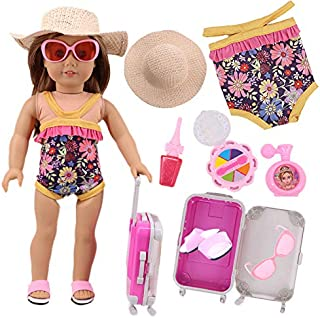 ZWSISU American Doll Travel Suitcase Play Set for 18 Inch Doll Including Luggage Straw hat Clothes&Slippers Sunglasses Toiletries Doll Travel Trunk Set Doll Accessories