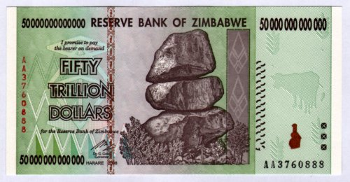 Zimbabwe 50 Trillion Dollar Note Bill Money Inflation Rekord Currency Simbabwe Geld Banknote