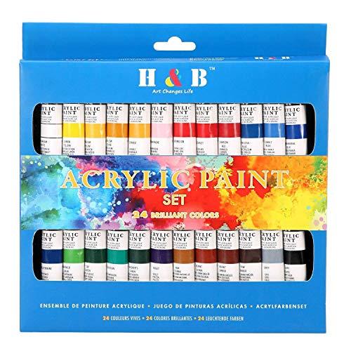 Color Technik Kit de peinture acrylique de qualité professionnelle, palette incluse, 24 tubes en aluminium, meilleures couleurs pour la peinture sur toile, bois, argile, tissu