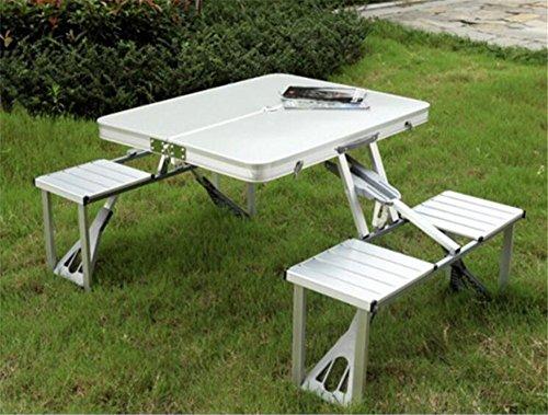 MONEYY Klappstühle und Tische_Aluminiumlegierung Picknick Tische und Stühle die vierseitige ausklappbaren Picknicktischen und 1,5 m Sonnenschirm 85 * 67 * 66 cm